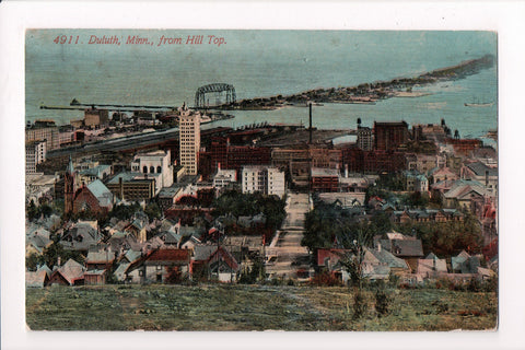 MN, Duluth - Bird Eye View from hill top, postcard - F03255