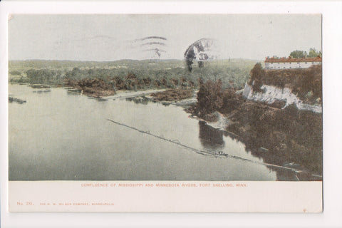 MN, Fort Snelling - Confluence of Rivers, H W Wilson Card - C08158