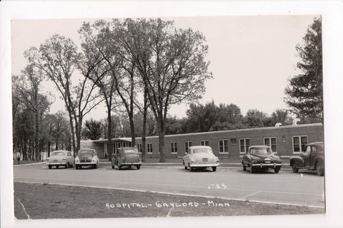 MN, Gaylord - Hospital, old cars - RPPC - H04124