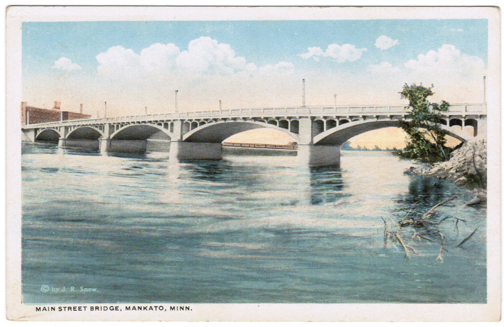 MN, Mankato - Main Street Bridge - J R Snow postcard - w04636