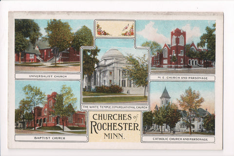 MN, Rochester - Multi View of 5 churches - C17420