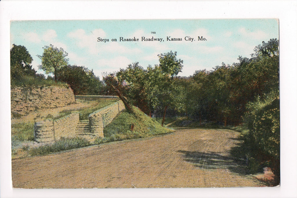 MO, Kansas City - Roanoke Roadway, steps - closeup - CP0137