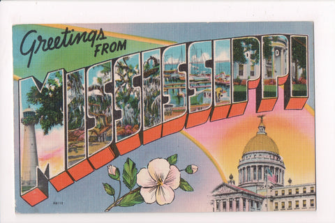 MS Mississippi - Large Letter Greetings From linen postcard - MB0552