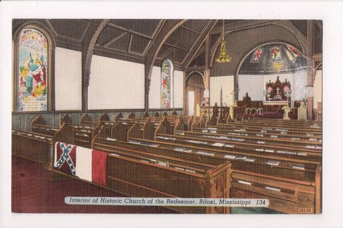 MS, Biloxi - Church of the Redeemer - postcard of the interior - J04145