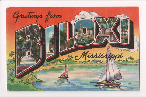 MS, Biloxi - Large Letter Greetings From vintage postcard - MB0542