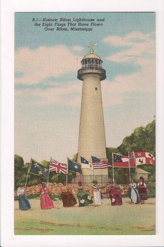 MS, Biloxi - Light House, Lighthouse - ladies holding 8 flags - w04597