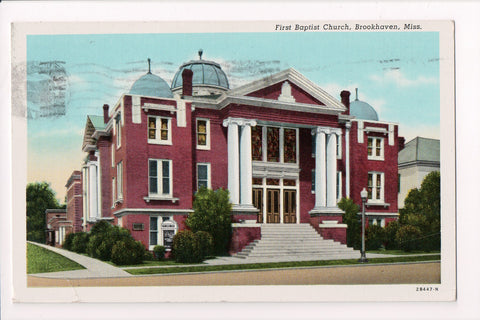 MS, Brookhaven - First Baptist Church - @1944 postcard - w000906