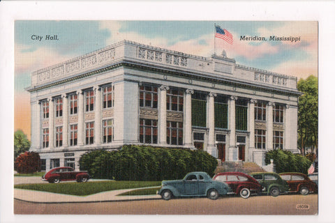 MS, Meridian - City Hall - @1943 postcard - JJ0724