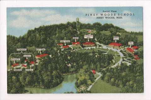 MS, Piney Woods - School Aerial view with building IDs, postcard - S01668