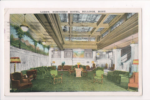 MT, Billings - Northern Hotel Lobby - 1935 Billings cancel - C06356