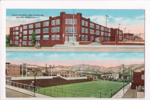 MT, Butte - High School and Stadium multi view postcard - J03108