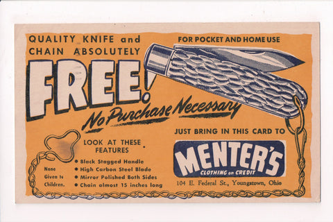 OH, Youngstown - MENTERS Advertisement POCKET KNIFE @1949 - W02347