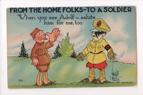 MISC - Military Comic - US Soldier with tongue out at German Soldier - B08301
