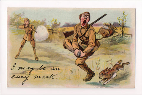 MISC - Military Comic - I May be an easy Mark postcard - E10462