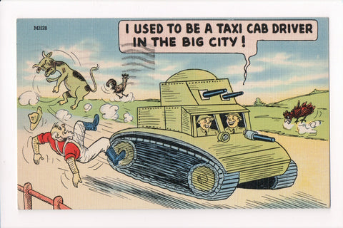 MISC - Military Comic - TANK bowling over man and cow - JJ0685