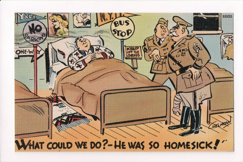 MISC - Military Comic - Officers chatting over service man in bed - JJ0692