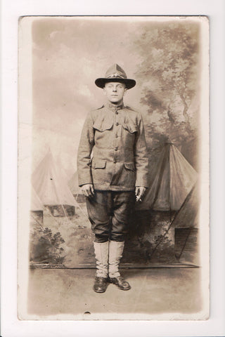 MISC - Military Man in uniform, studio pose with cigarette in hand, RPPC - 50074
