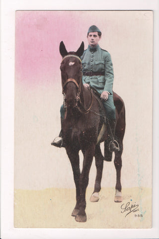 MISC - Military Man on Horse - French serviceman - RPPC - D06172
