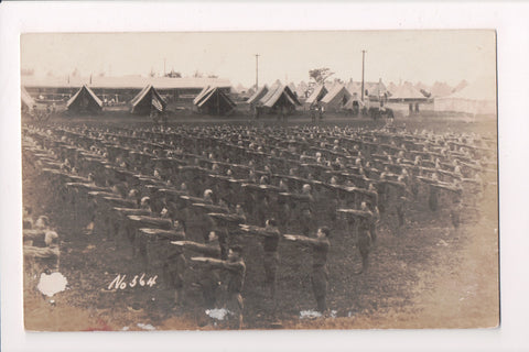 MISC - Military Men in uniform with arms outstretched, tents - RPPC - D07183