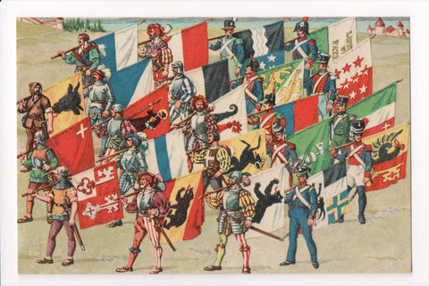 MISC - Military - Flags of 22 Swiss Cantons (Federal States) coat of arms - B08307