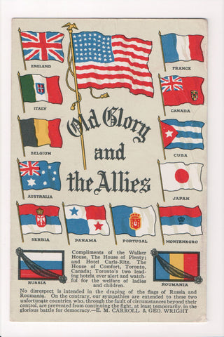 MISC - Military - Old Glory and the 14 Allies, flags postcard - C06043