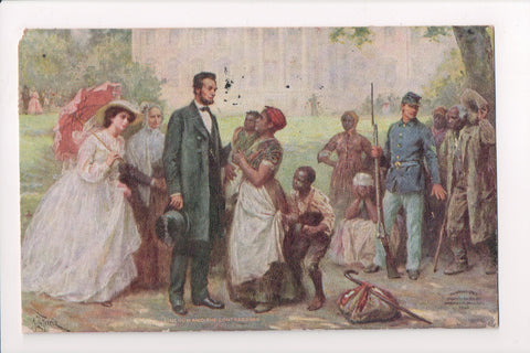 Black Americana - Lincoln talking to black people, soldier etc - B17255