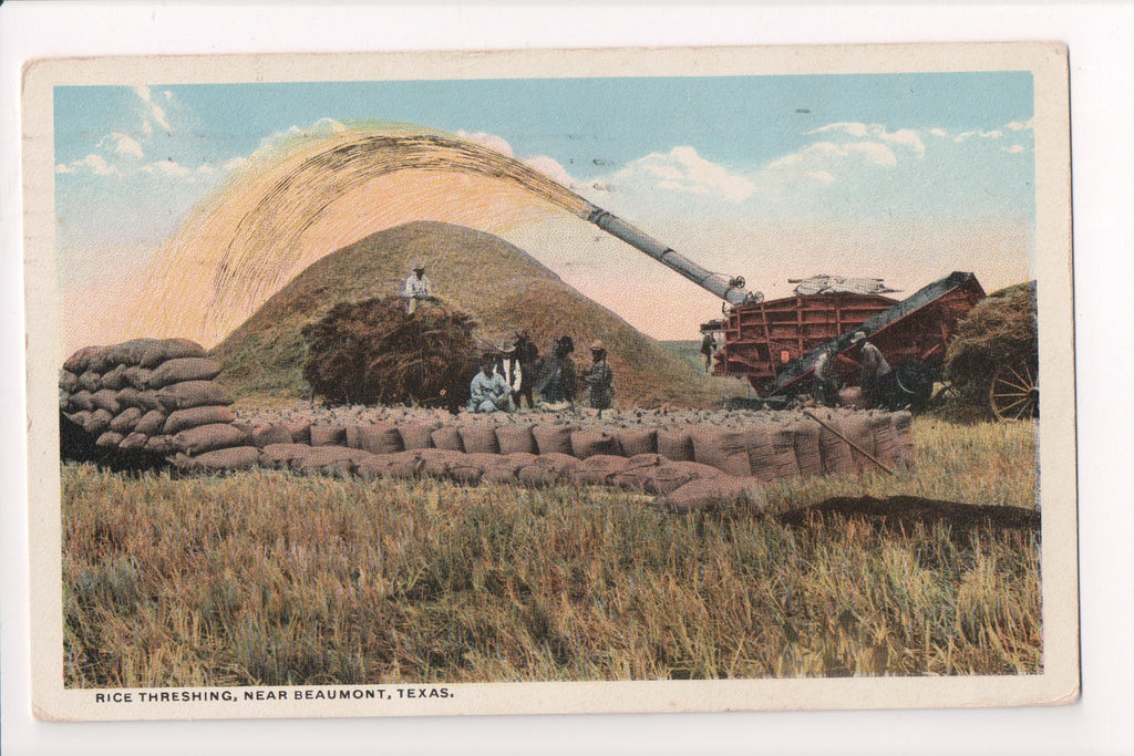 Colorful Postcard Americana And Black >> Black Americana Colored Men With Rice And Threshing Machine