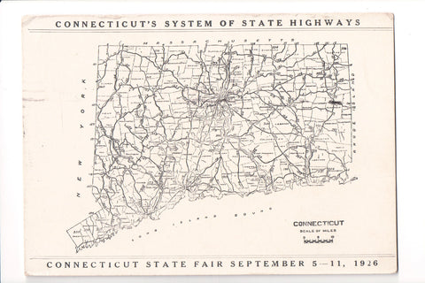 CT - System of State Highways (Map) and 1926 State Fair postcard - C06084