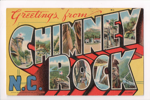 NC, Chimney Rock - Greetings from, Large Letter - B17089