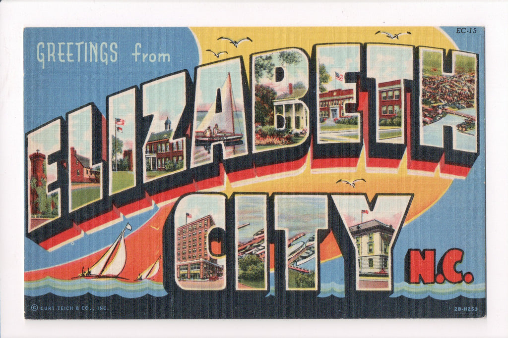 NC, Elizabeth City - Greetings from, Large Letter - B17083