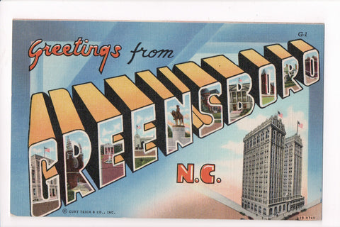 NC, Greensboro - Greetings from, Large Letter - B17084