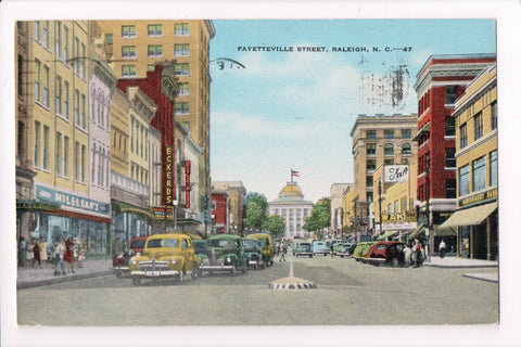 NC, Raleigh - Fayetteville Street with signs - A06724