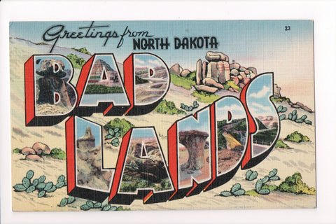 ND, Bad Lands - Greetings from, Large Letter postcard - C08591