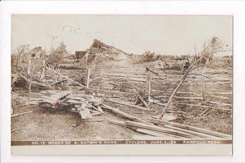 NE, Fairfield - Cyclone aftermath of A Corbin residence in 1908 - RPPC - C17196