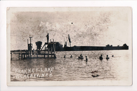 NE, Kearney - Kearney Lake - diving platform or pier - 1922 RPPC - A06876