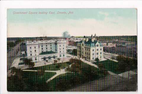 NE, Lincoln - Government Square looking East, Bird Eye View - C08147