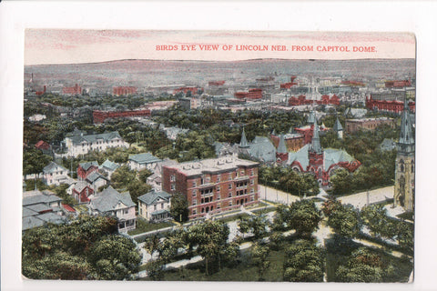 NE, Lincoln - Birds Eye View from 1912 - postcard - J04038