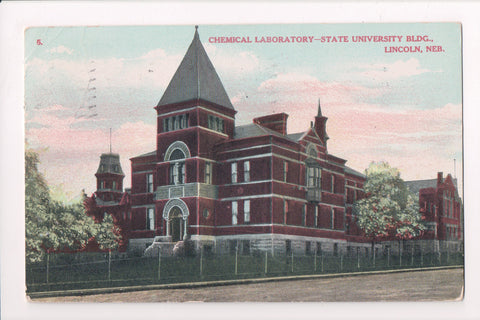 NE, Lincoln - State University, Chemical Laboratory - @1908 postcard - NL0217