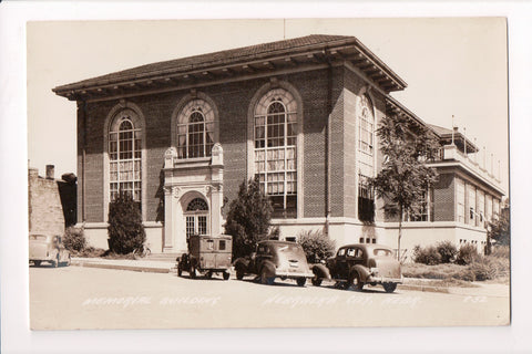 NE, Nebraska City - Memorial Building, Paddy Wagon, old cars, bike - RPPC - B060