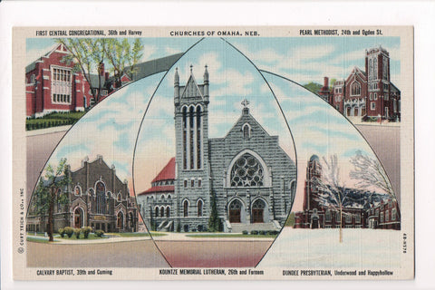 NE, Omaha - Churches of Omaha - multi view postcard - 500034