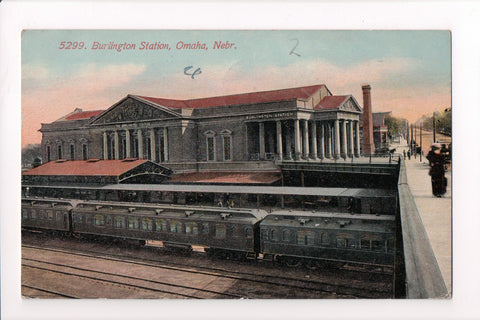 NE, Omaha - Burlington Station, @1912 postcard - 500039