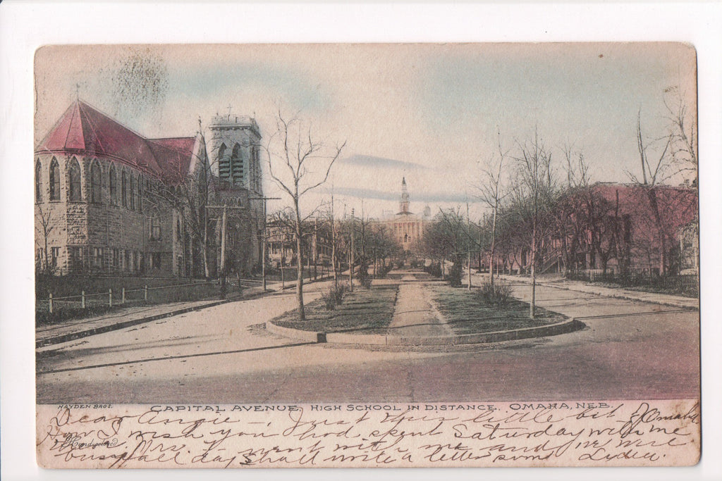 NE, Omaha - Capital Avenue, High School in distance - H03144
