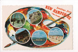 NH, New Hampshire - Greetings from, Large Letter palette postcard - B08274