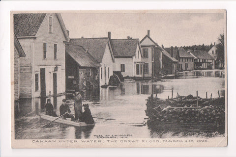 NH, Canaan - Great Flood of 1896 - boat in the street postcard - B06576
