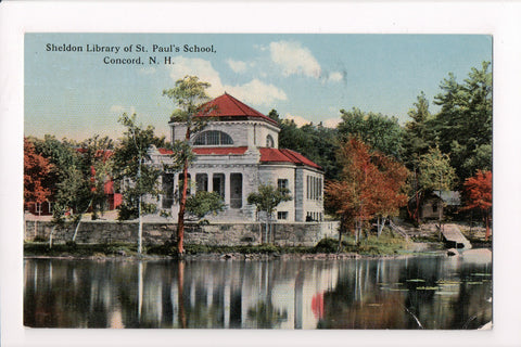 NH, Concord - St Paul School, Sheldon Library postcard - w03338