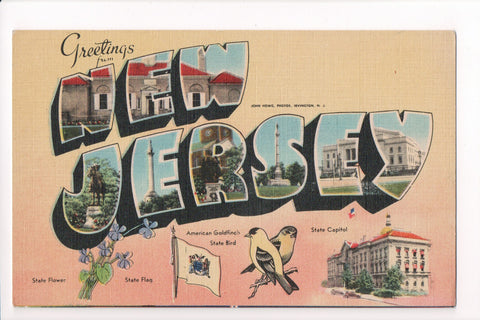 NJ - Large Letter Greetings from postcard - B08278