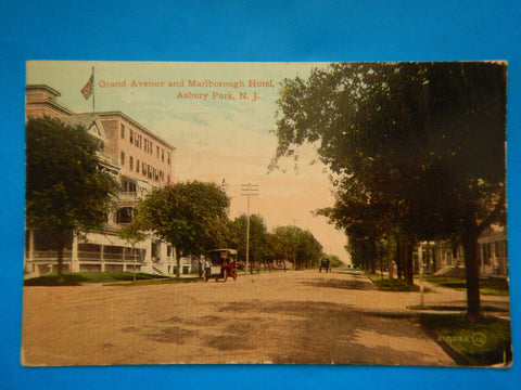 NJ, Asbury Park - Grand Ave and Marlborough Hotel postcard - D08134