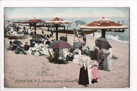 NJ, Asbury Park - 7th Ave Bathing Grounds, umbrellas - K06031