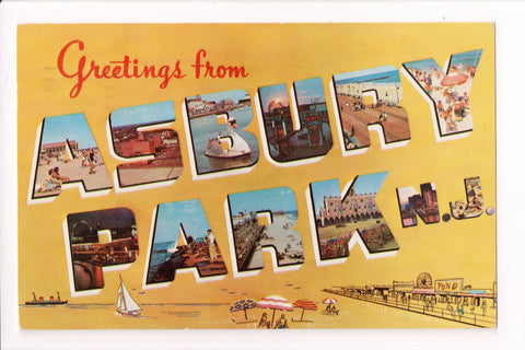 NJ, Asbury Park - Greetings from - 1954 postcard - NJ0007