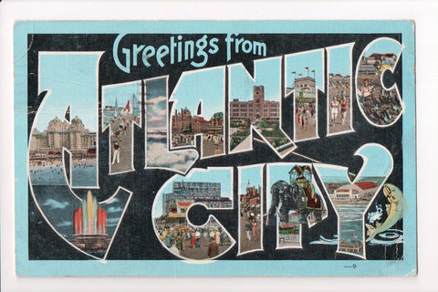 NJ, Atlantic City - Greetings from, Large Letter postcard - MT0013